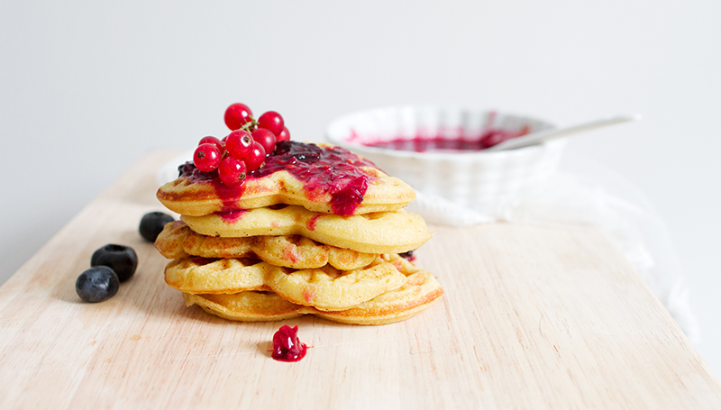 A stack of berry waffles